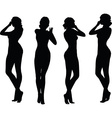 woman silhouette with hand gesture holding nose vector image vector image