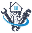 wrench and water pipes house plumbing repair vector image vector image