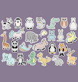 stickers with baby animals cartoon vector image