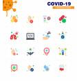 16 flat color corona virus pandemic care pill vector image vector image