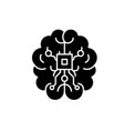brain chipset black icon sign on isolated vector image vector image