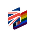 british and lgbt flag symbol of tolerant united vector image