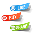 buy like and share labels vector image vector image