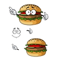 Cartoon hamburger character vector image vector image