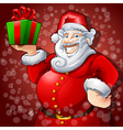 Cheerful Santa Claus with Box Gift vector image