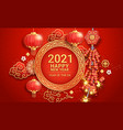 chinese new year 2021 firecrackers with paper vector image vector image