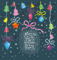 christmas card with balls trees hand vector image