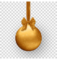 Christmas golden ball with ribbon and bow