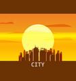 city megapolis sunset cityscape evening skyline vector image