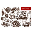 collection hand drawn meat vector image