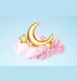 crescent moon golden stars and pink clouds 3d vector image