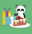 cute and little bear panda with gifts vector image