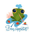 cute frog holds strawberries cartoon character vector image vector image