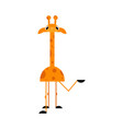 cute giraffe cartoon character stands smiling and vector image