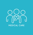 doctor team icon line medical concept on blue vector image