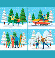 family on winter holidays set skiing and skating vector image vector image