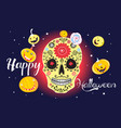 festive greeting card with halloween on a dark vector image vector image