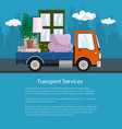 flyer lorry is transporting furniture vector image vector image