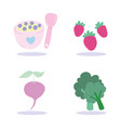 fruit and vegetable dessert food cartoon isolated vector image