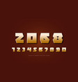 golden colored sans serif numerals vector image vector image