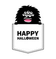 happy halloween black fluffy monster silhouette vector image vector image