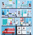 hospital interior flat compositions vector image vector image