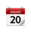 January 20 flat daily calendar icon Date vector image vector image