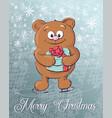 merry christmas polar bear on ice skates vector image vector image
