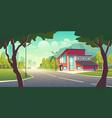 modern house in metropolis suburb cartoon vector image