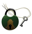 old-fashioned metal lock with key vector image vector image