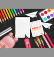 pink satchel and drawing tools realistic vector image