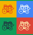 pop art line western stagecoach icon isolated on vector image vector image