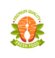 premium quality fresh food logo template badge vector image vector image