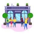 restaurant open ceremony cartoon people with key vector image