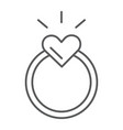 ring thin line icon love and jewelry engagement vector image vector image