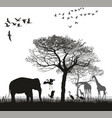 safari with giraffes herons geese and the vector image vector image