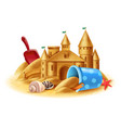 sand castle realistic background vector image vector image