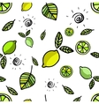 Seamless pattern with lemons on white vector image vector image