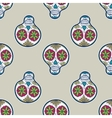 Seamless pattern with sugar skull vector image