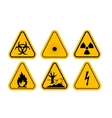 Set of Triangle Yellow Warning Icons vector image vector image