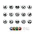 social web icons - metal round series vector image vector image
