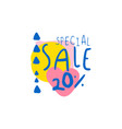 special sale 20 percent off logo template vector image vector image
