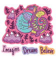 stickers with fantastic animals and phrases in vector image vector image