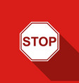 stop sign icon isolated with long shadow vector image vector image