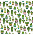 succulent and cactus seamless pattern colorful vector image vector image