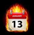 thirteenth january in calendar burning icon on vector image vector image