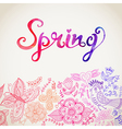 watercolor floral greeting card with Spring vector image vector image