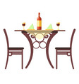 wine bottle and napkins on table cafe or vector image