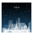 winter night in turin night city in flat style vector image vector image