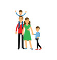 young parents standing with their two sons happy vector image vector image